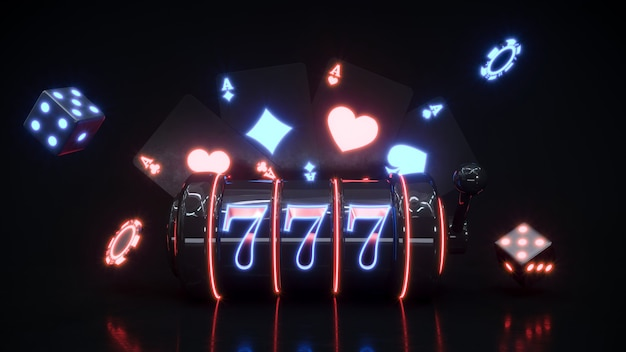 Casino neon background with slot macine and poker chips falling premium photo.