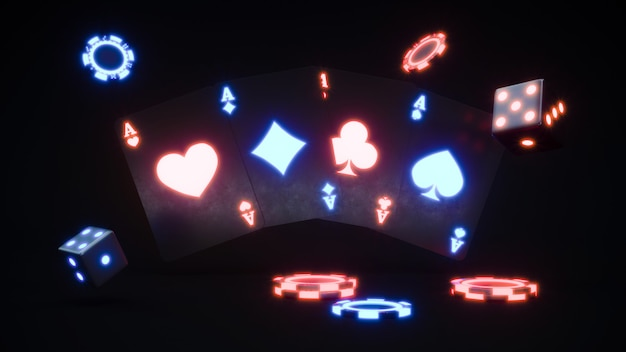 Casino neon chips and cards. poker chips falling premium photo