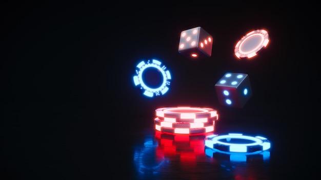 カジノネオンチップ。プレミアム写真に落ちるポーカーチップ