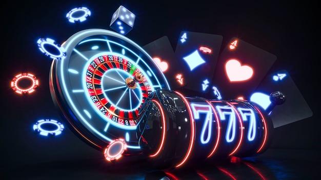 Неоновые фишки казино. падающие фишки для покера премиум фото