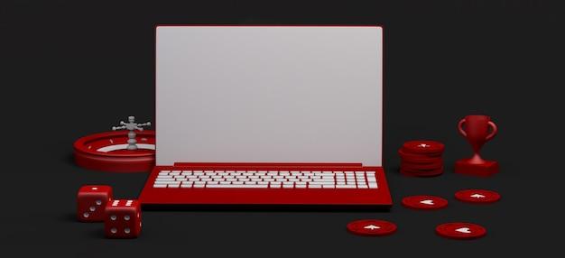 Концепция онлайн казино с ноутбуком. баннер азартных игр. приложение. 3d иллюстрации. скопируйте пространство.