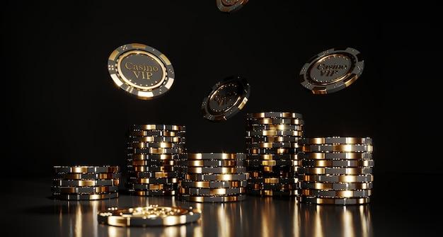 Casino poker chips on black
