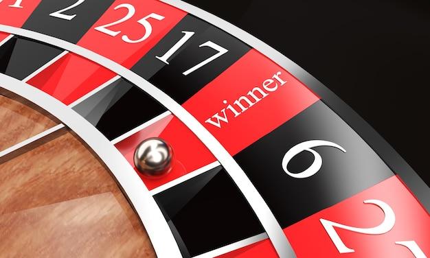 白い背景の上の碑文の勝者とカジノルーレット3dレンダリング