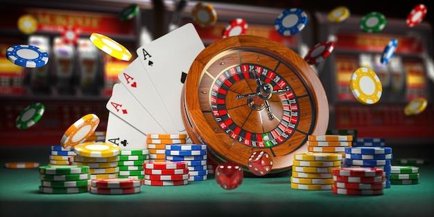 Казино. рулетка. карты, кости и фишки на фоне игрового автомата. 3d иллюстрация