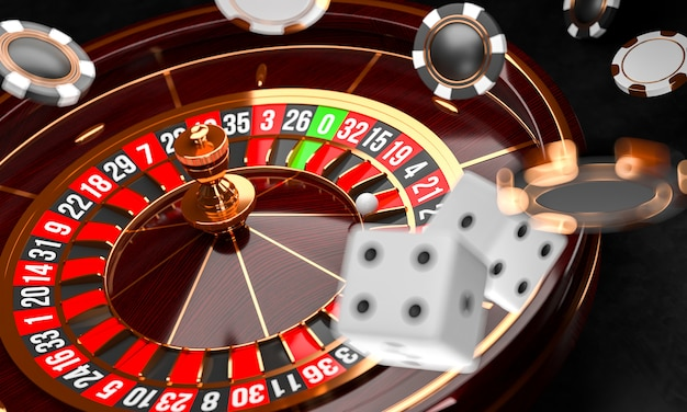 Casino roulette wheel with dice