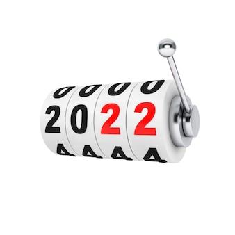 Игровой автомат казино с новогодним знаком 2022 на белом фоне. 3d рендеринг