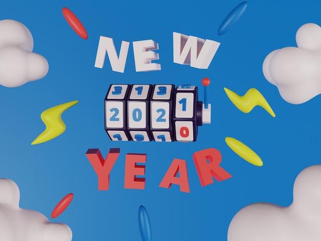Casino slot machine with new year sign