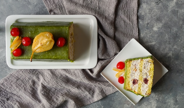 Cassata siciliana, traditional sweet from palermo and messina for easter, sicily, italy