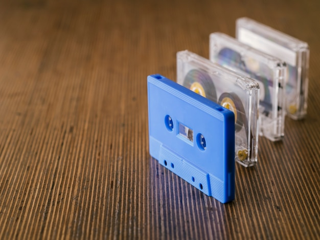 Cassette tape collection in row with copy-space