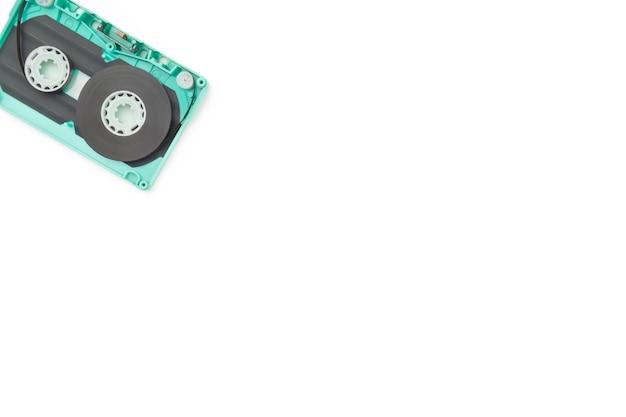 Cassette tape split isolated white background