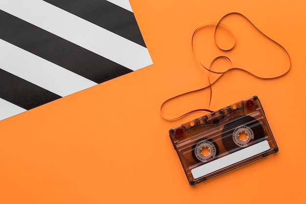 Cassette tape with magnetic recording film flat lay