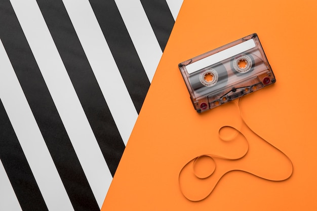 Cassette tape with magnetic recording film top view