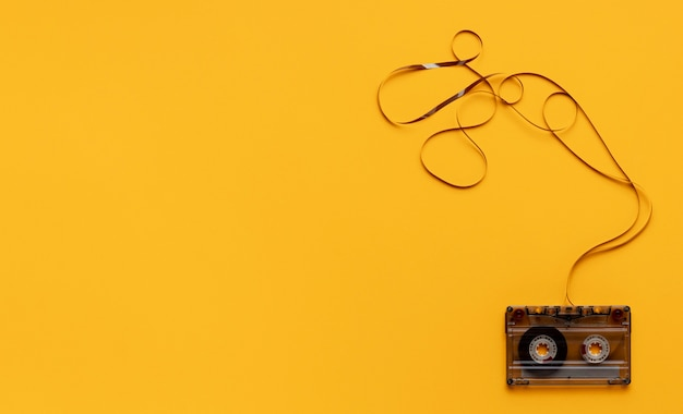 Cassette tape on yellow background