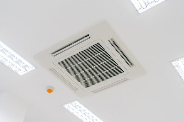 Cassette type air condition with lighting and fire protection system installation