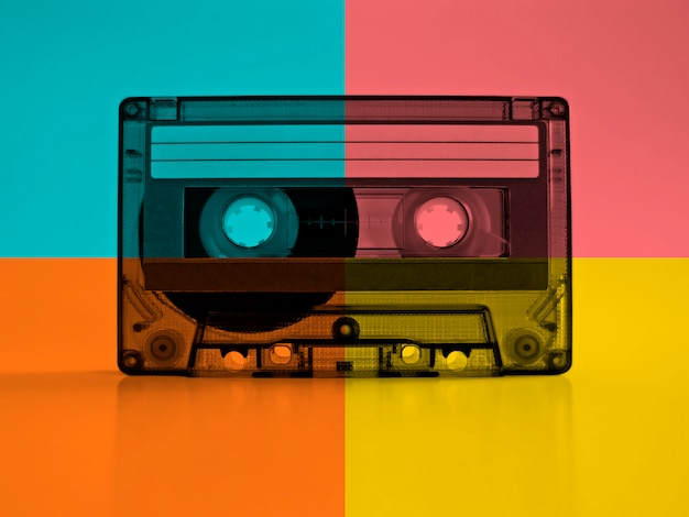Cassette with retro color effects