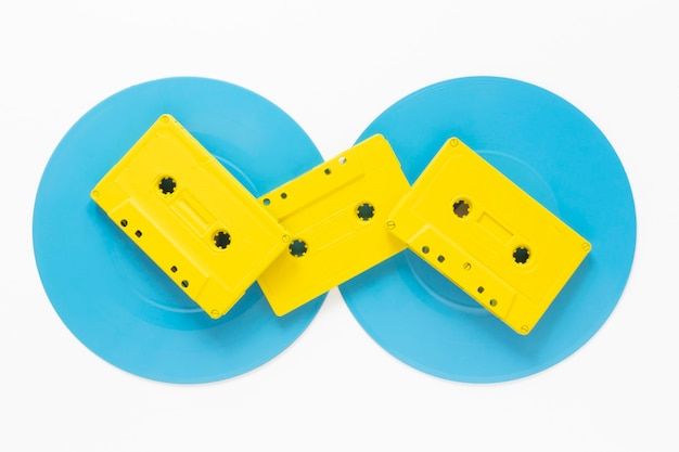 Cassettes on disc with white background