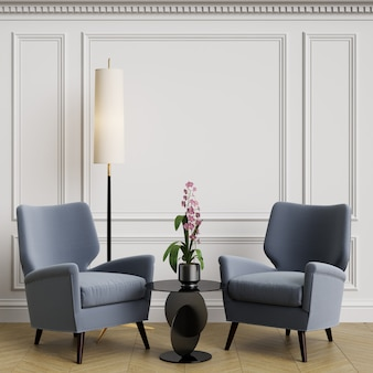 Cassic interior with blue armchair and floor lamp