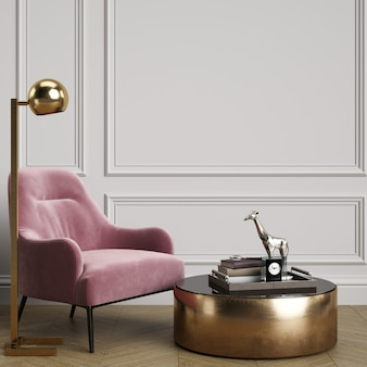 Cassic interior with pink armchair and floor lamp