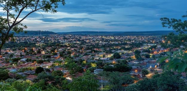 Cassilandia, mato grosso do sul, brazil - 01 25 2021: brazilian city cassilandia in the night