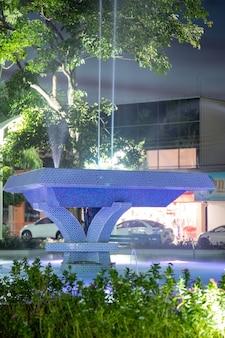 Cassilandia, mato grosso do sul, brazil - 05 28 2021: sao jose square fountain in the center of cassilandia