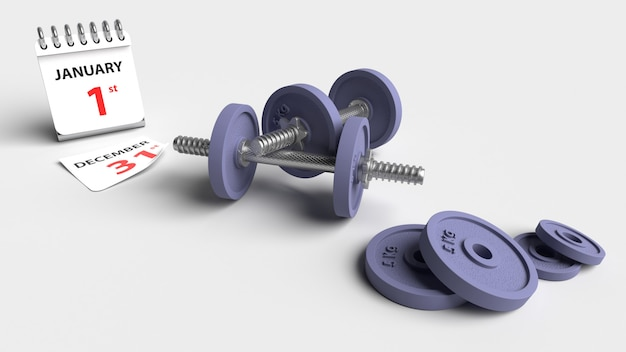Cast iron dumbbell weights with calendar