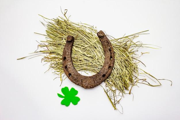 Cast iron metal horseshoe on hay, isolated on white background, felt clover leaf