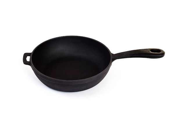 Cast iron pan with handle isolated