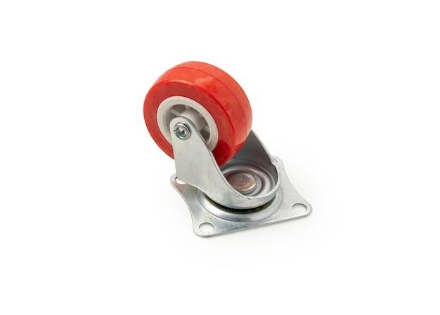 격리된 흰색 배경에 실리콘 고무 바퀴와 금속 몸체가 있는 캐스터 휠