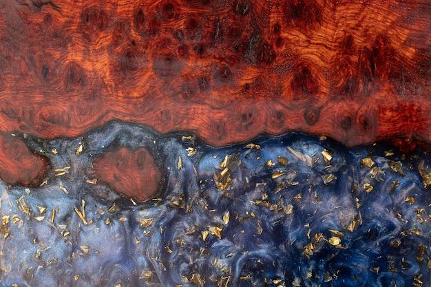 エポキシ樹脂の鋳造padaukウッドの背景テクスチャ