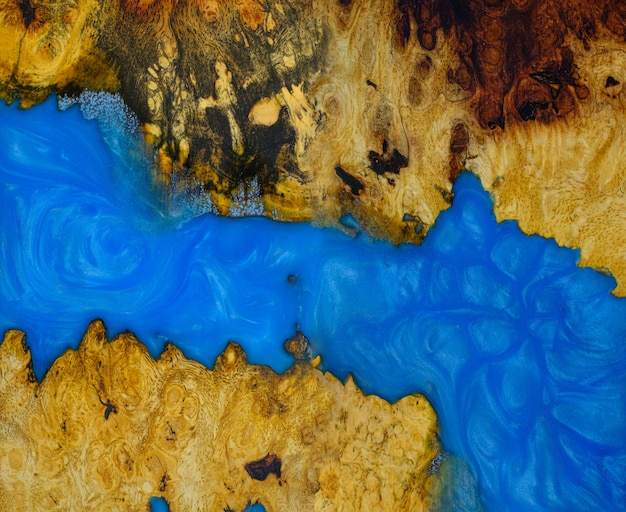 アフゼリアバールウッドの鋳造エポキシ樹脂パネル、背景の木製の上面図
