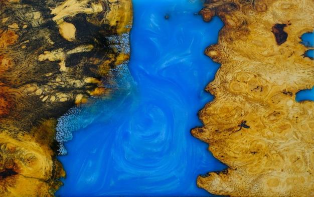 メープルバールウッドの鋳造エポキシ樹脂パネル、背景の木製の上面図