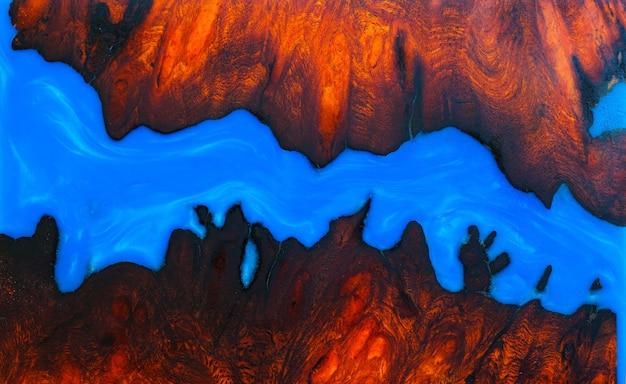 パダウクバールウッドの鋳造エポキシ樹脂パネル、背景の木製の上面図