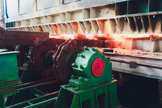 Casting, the part of steel production at steel mill.