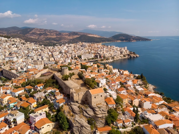 Castle and city of kavala by the sea in greece