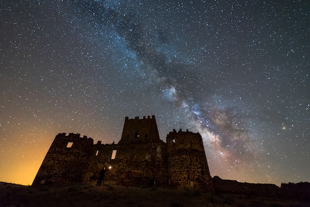 Castle of guadalerzas,spain in the night and milky way