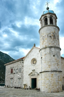 Castle on island on the lake in montenegro. europe. travels.