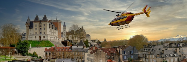 The castle of pau city with helicopter in france