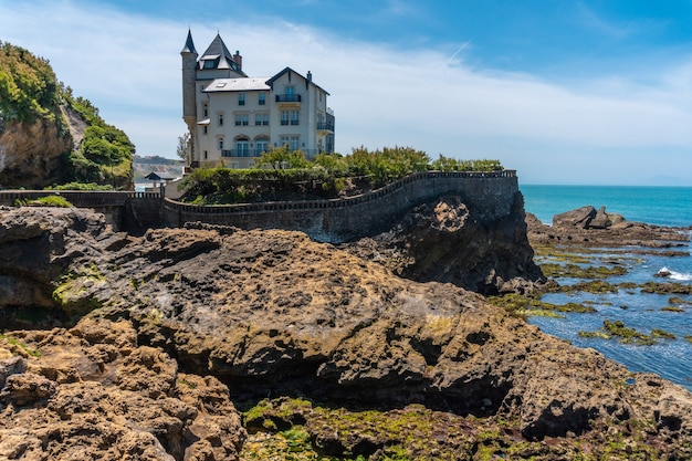 Castle on the plage du port vieux on a summer afternoon