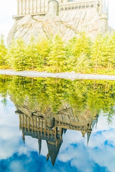 Castle reflection on lake