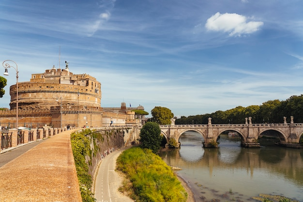 Castle sant'angelo (castle of holy angel) and ponte or bridge sant'angelo with statues in rome, italy.