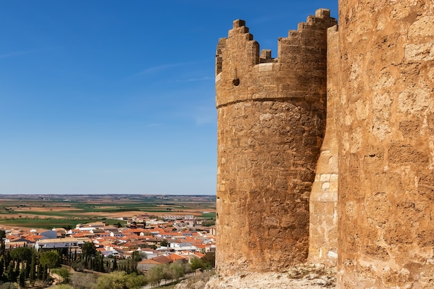 Castle and town of belmonte in la mancha, cuenca spain. europe,
