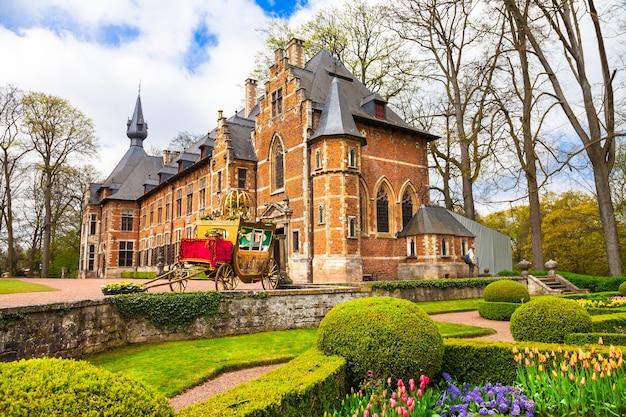 ベルギーの城、有名な庭園のあるフロート・ベイハーデン