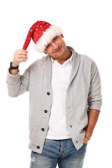 크리스마스 모자와 함께 캐주얼 성인