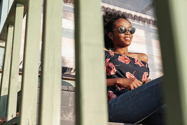 Casual african woman enjoying a day off