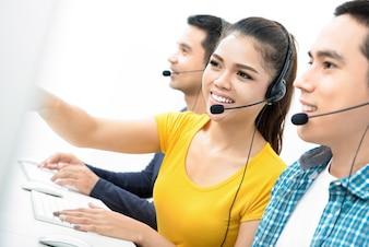 Casual Asian call center team