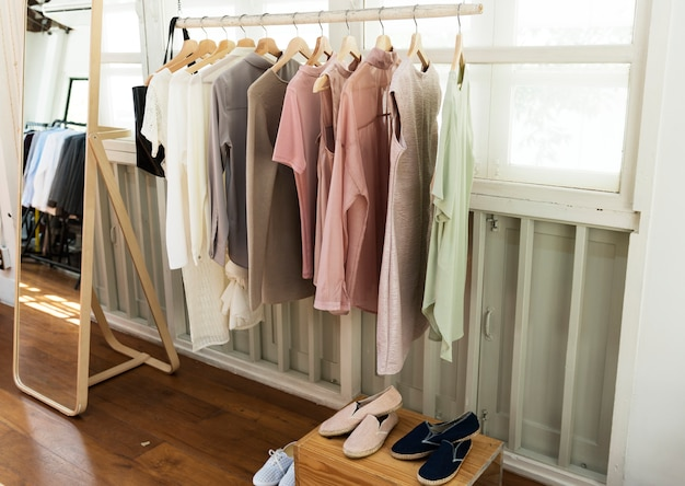 Casual clothes hanging on the rack