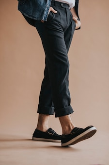 Casual man in a black pants Premium Photo
