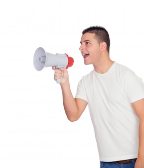 Casual men with a megaphone shouting