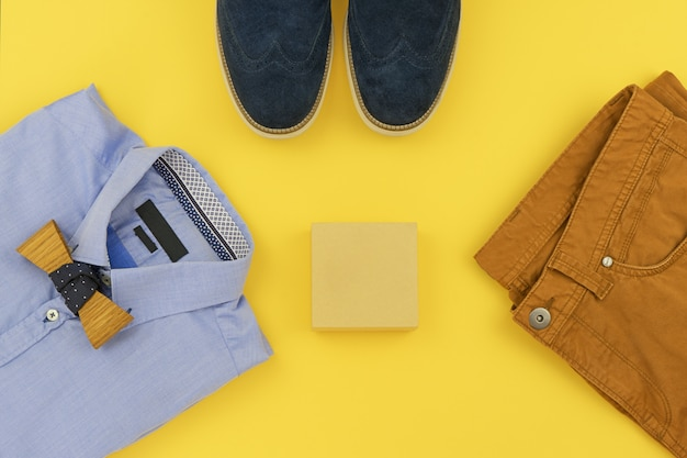 Casual outfits for men clothing set on yellow