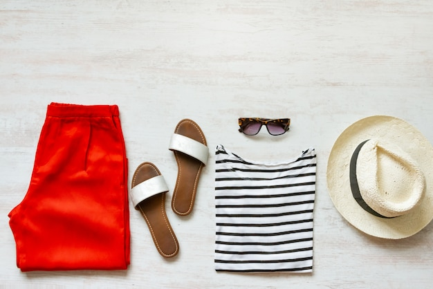 Casual spring/summer female clothing set. copy space.